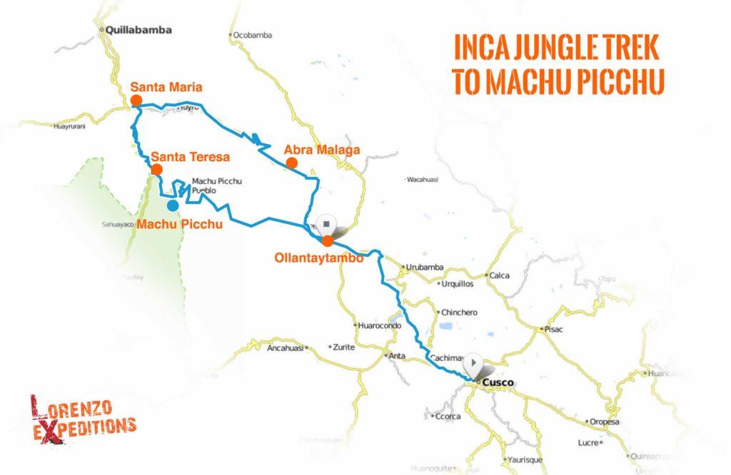 Inca Jungle Trek Map