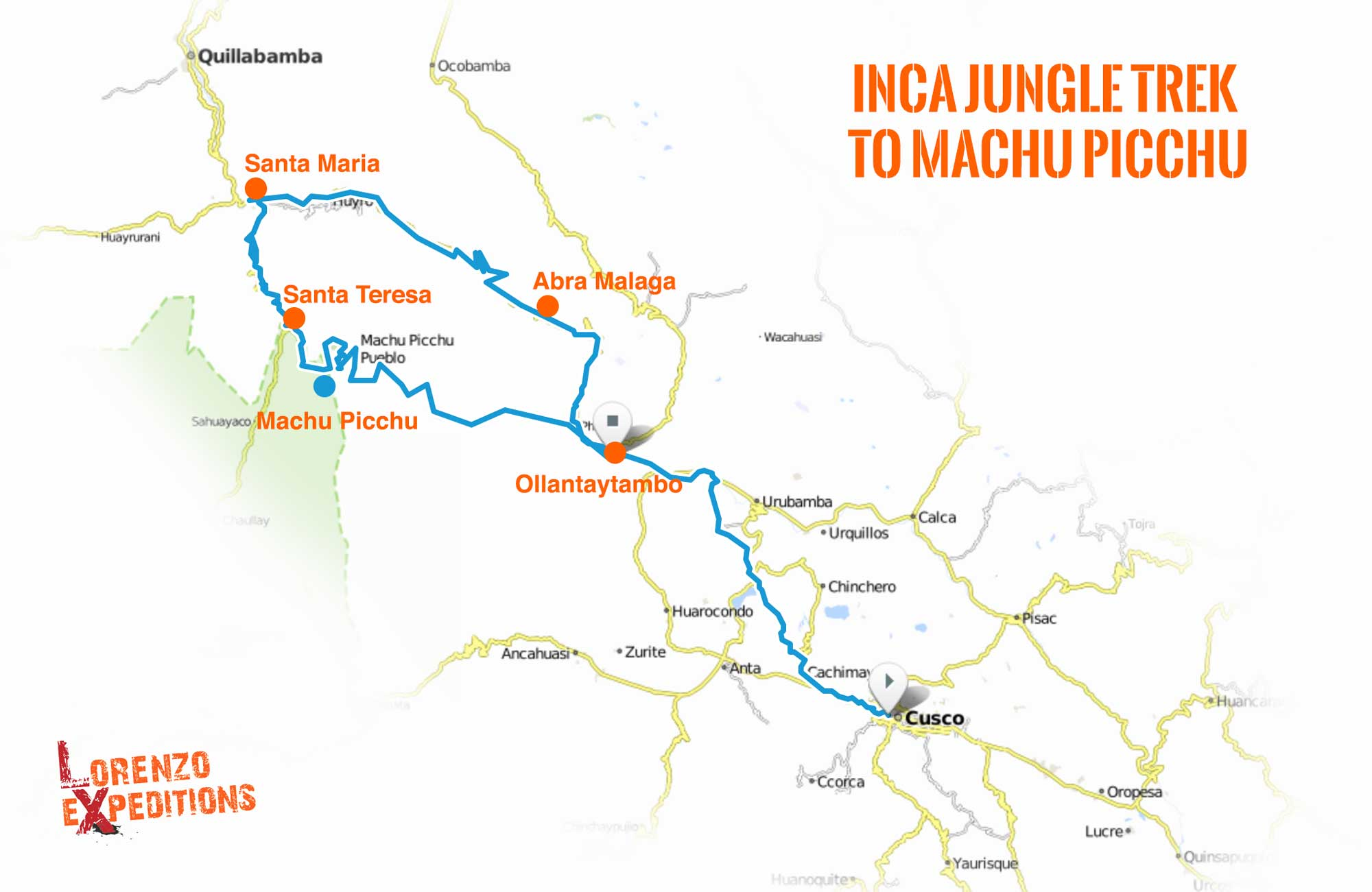 Inca Jungle Trek Map